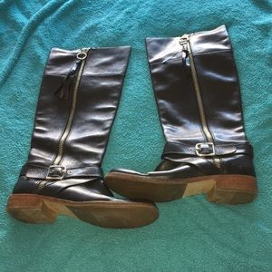 Black and brown coach boots size 8